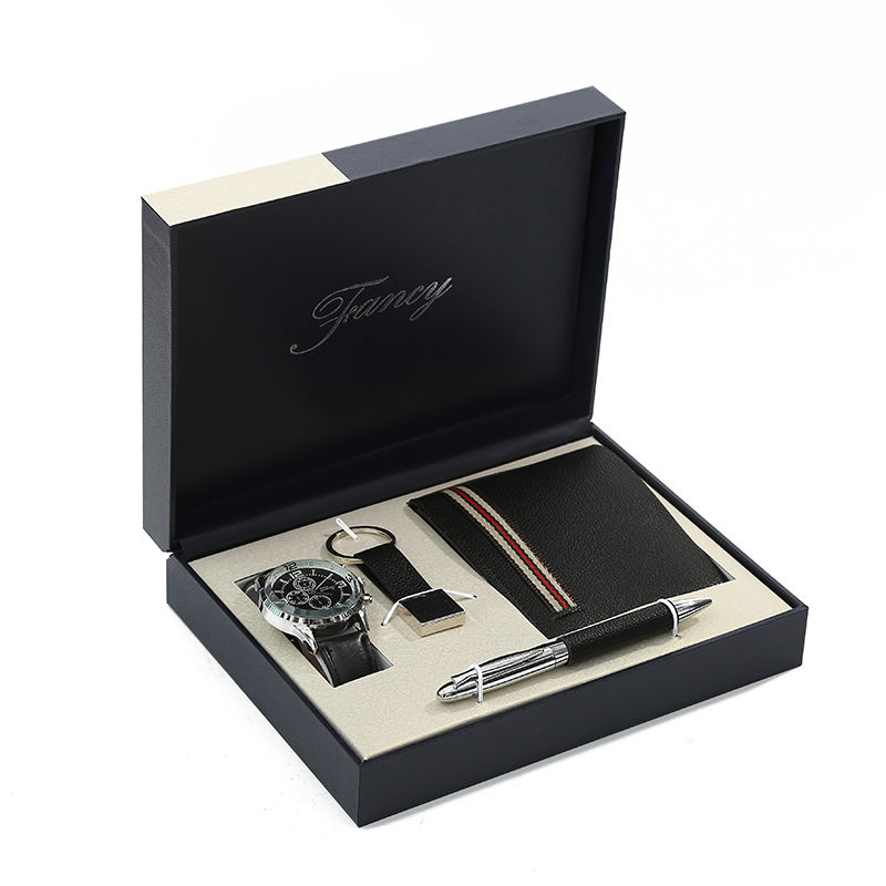 Custom Promotional Watches/Pens/Wallets/Keychains Gift Set Boutique Business Company Men Gift Sets