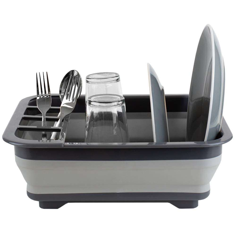 Silicone Collapsible Dish Drying Rack with Cutlery Holder Dish And Bowl