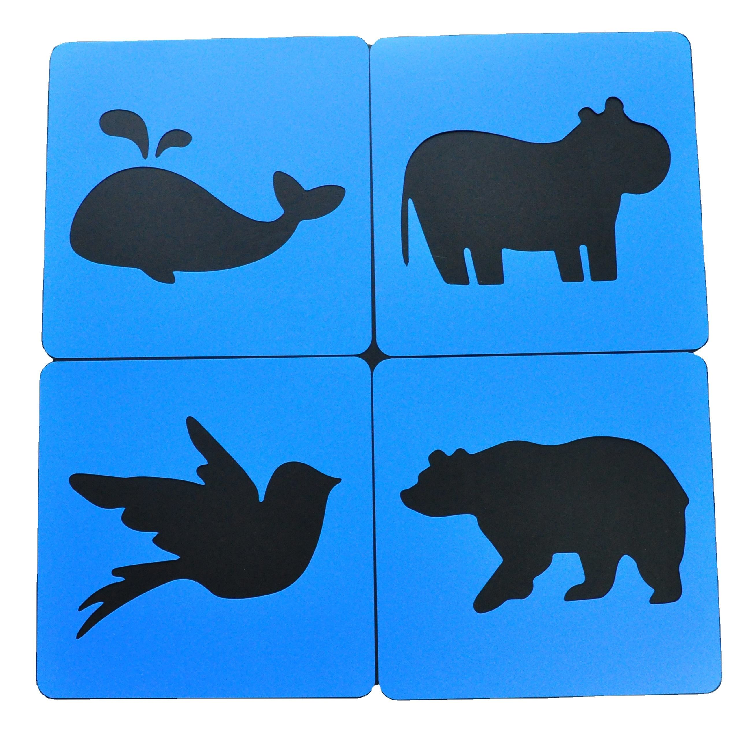 20x20 cm reusable plastic animal shape painting stencils for DIY Kids Art Craft Project