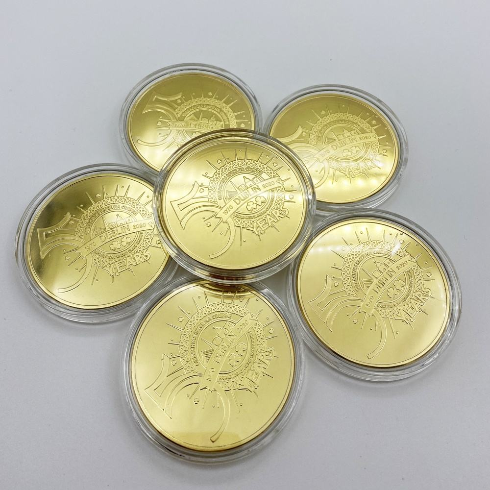 Chinese Factory Commemorative Metal Gold Coin Custom Souvenir Gold Plating Coin Gold Recognition Coin