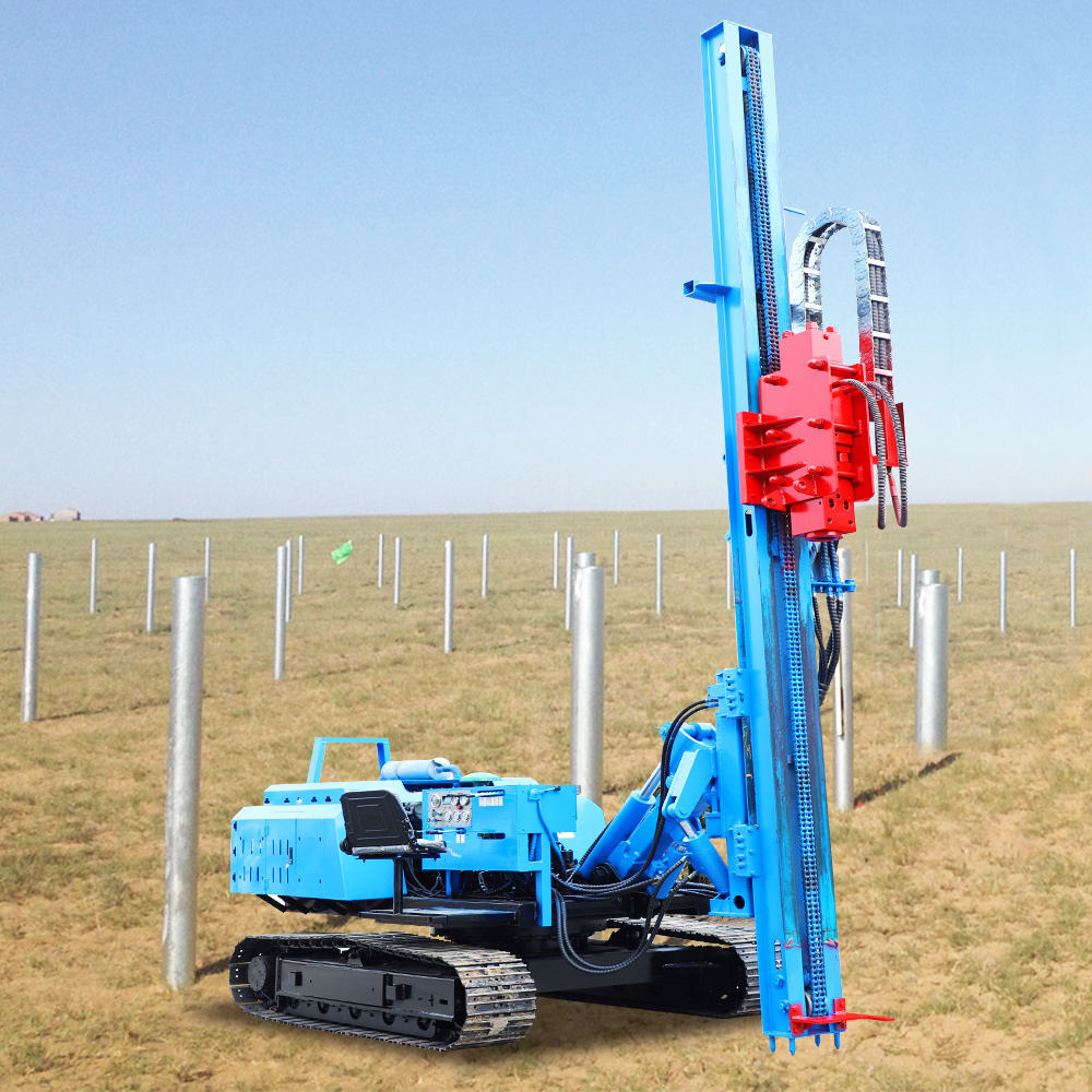 Solar power photovoltaic crawler ground drilling pile driver machine