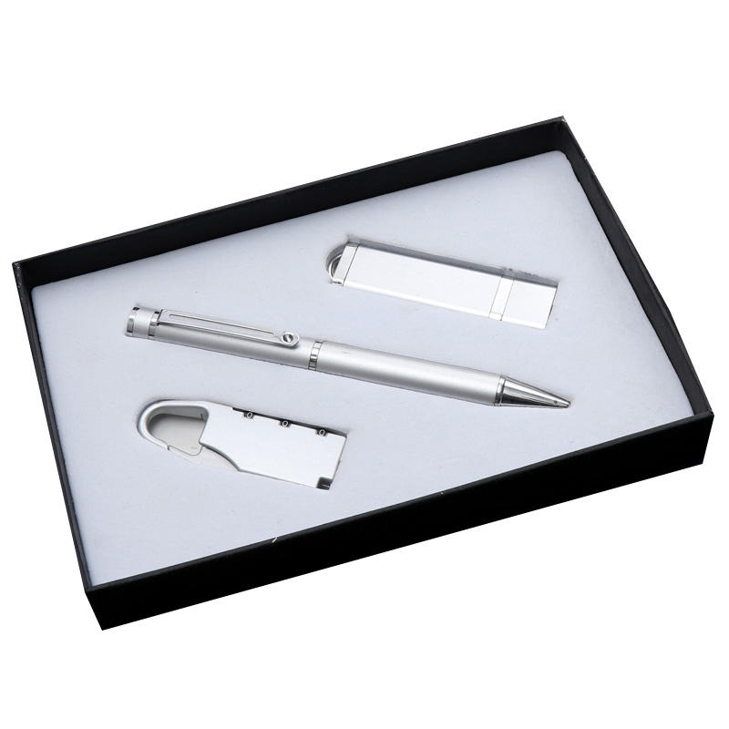 Charger signature pen phone U Disk three-piece set, can be customized business gifts, silver mobile power set
