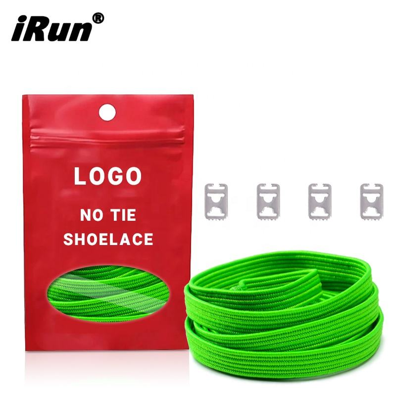iRun Quality 8mm Flat Elastic Shoelaces Expandable Laces Patients Runners No Tie Shoelaces With Customized Packaging Sevice