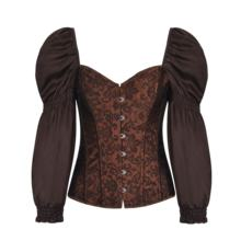 Victorian Retro Corsets And Bustiers With Puff Long Sleeve  Gothic Corset Plus Size Korsett For Women Steampunk Clothing
