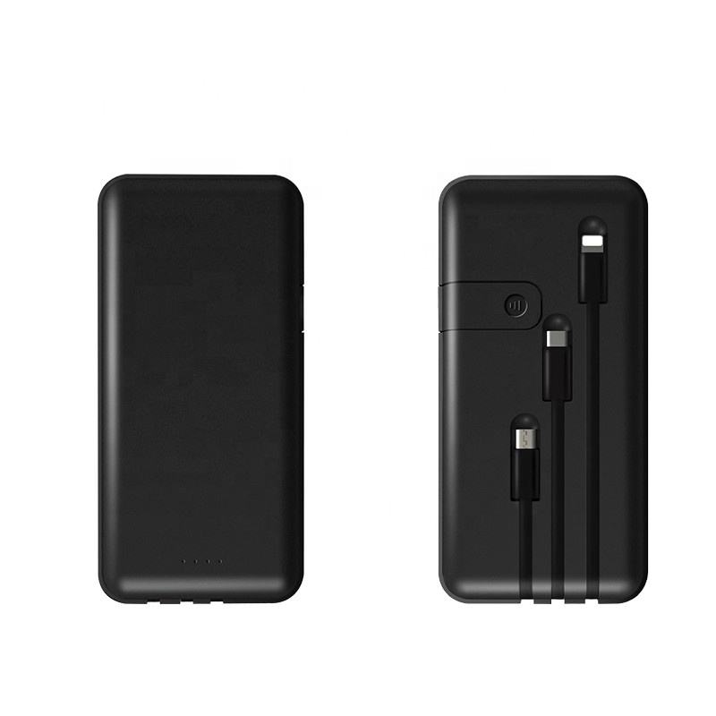 Phone Holder 10000mAh Slim Portable Charger Suit for iPhone Apple Type C Power Bank with Built in Lightning Cable Fast Charging