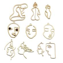 custom gold plated Picasso designer hollow human face body geometric abstract charms