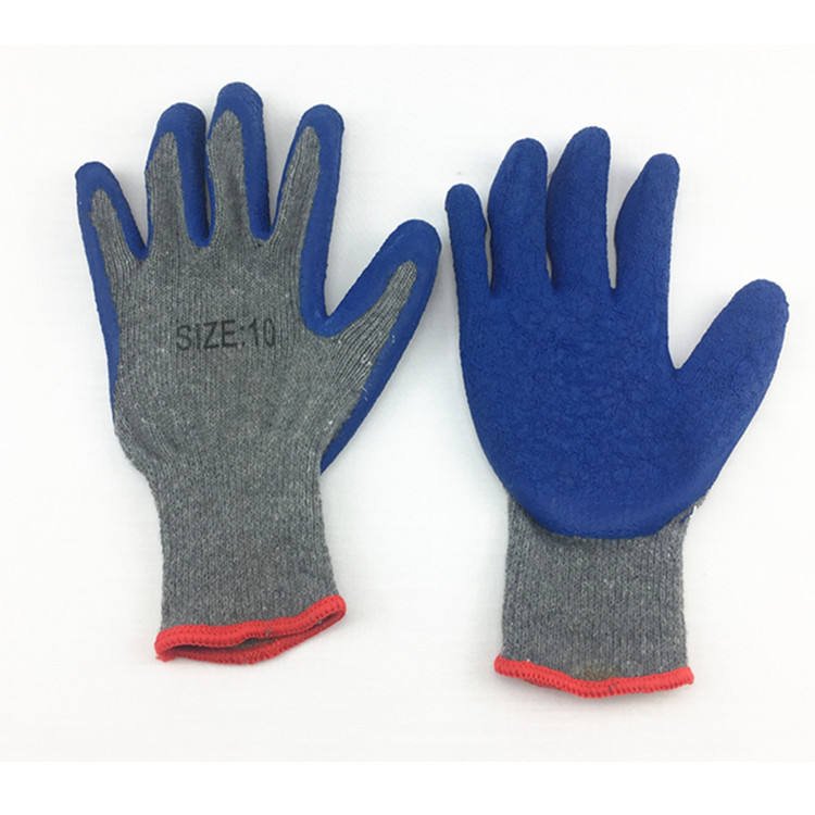 New product Grey work gloves latex coated natural rubber palm cotton anti-cutting safety gloves