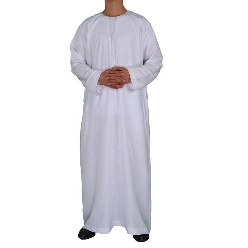 Islamic Mens Thobe Long Sleeve Arab Daffah Thobe White Robe