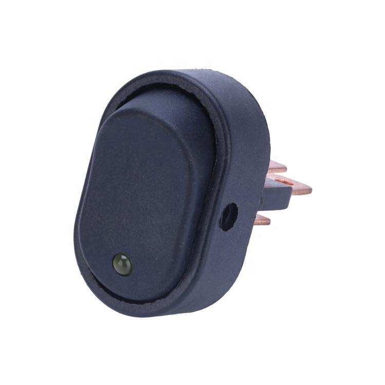 Waterproof 12V 30A SPST 3 Pin On Off Blue Round Dot LED Lighted Rocker SwitchためCar Boat Marine ASW-20D