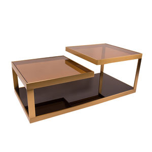 Hot selling Modern Style Customized metal coffee table with glass table top