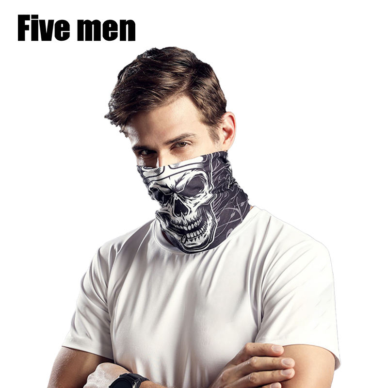 Five men silver ion fabric custom headwarmer Multifunctional Seamless skull Bandana