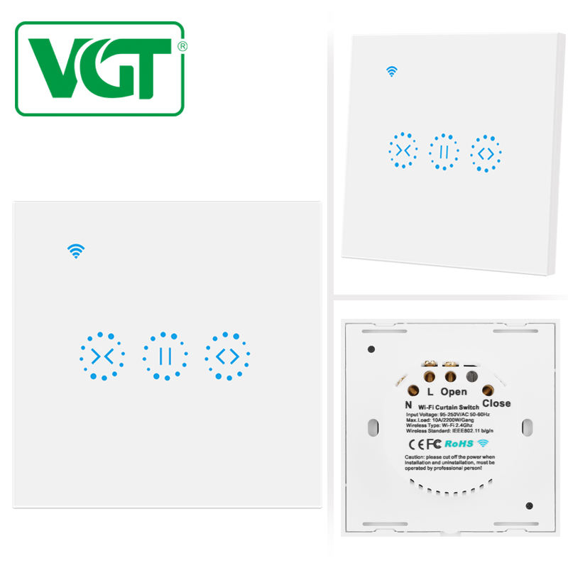 Touch Light Switch [ Touch Sensitive Glass ] Open/close Light Switch Panel VGT Good Selling 3 Gang Light Switch US Type Electrical Touch Control Switch Sensitive Glass Panel