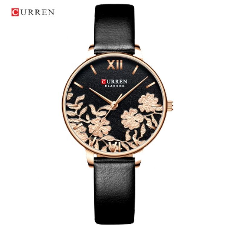CURREN 9065 Ladies Japan Quartz Movement Watch Elegant Leather Watch As Lotus Design & Shape Ladies Watch Clock Montre Femme