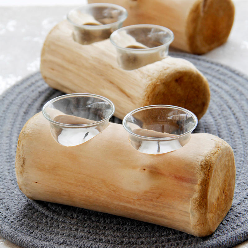 Two-Hole Wooden Candlestick European Pastoral Style Candle Holder Warm Desktop Christmas Candlestick Decoration