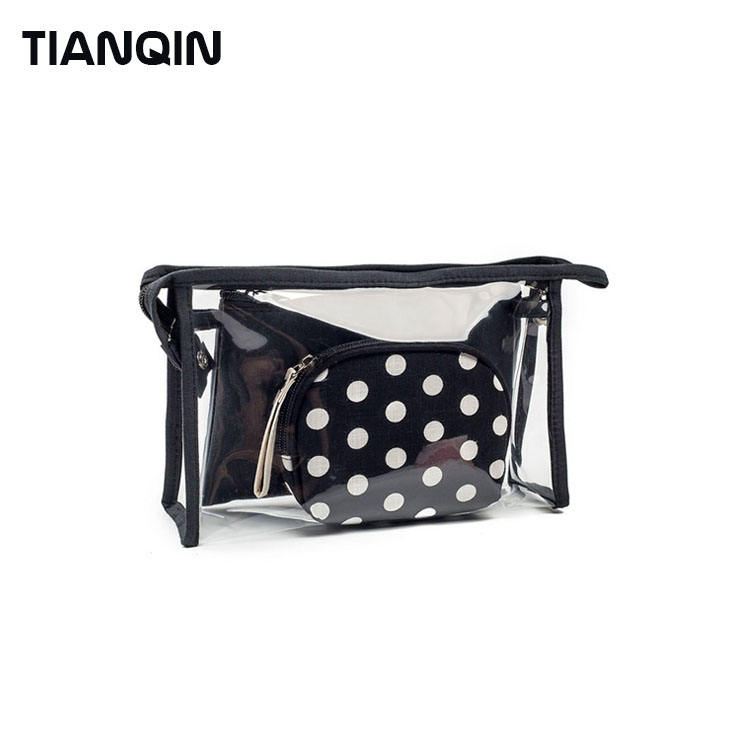Fashion 3 Pieces Waterproof Transparent Cosmetic Bag Women Dot Printed Portable Travel Makeup Bag