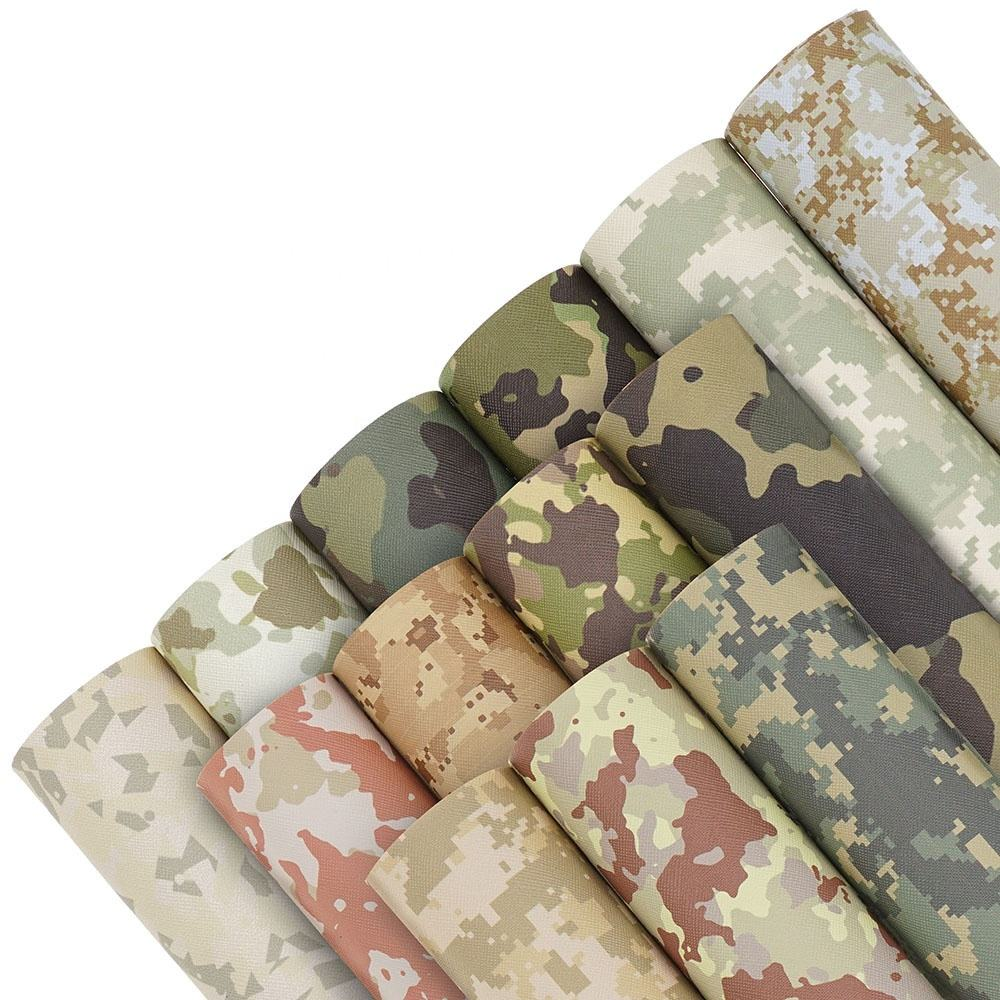 13 Patterns new synthetic Camouflage pattern faux leather paper upholstery fabric supplier