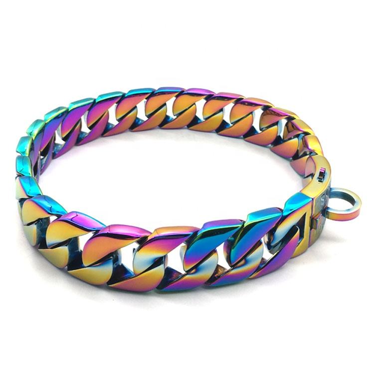 custom 2020 new design multicolor luxury large leash dog necklace choker chain cuban link metal 316L stainless steel dog collar