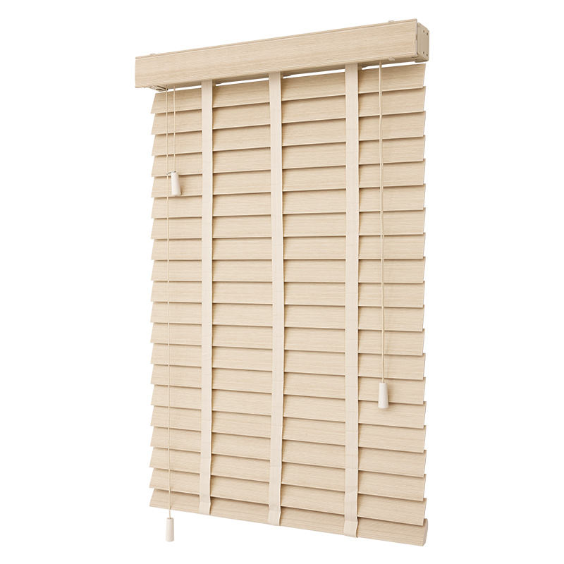 Double Cord Operasi Wood Blinds Tangga Pita Kabel Tilt 50Mm Kayu Solid Slat Wood Blind