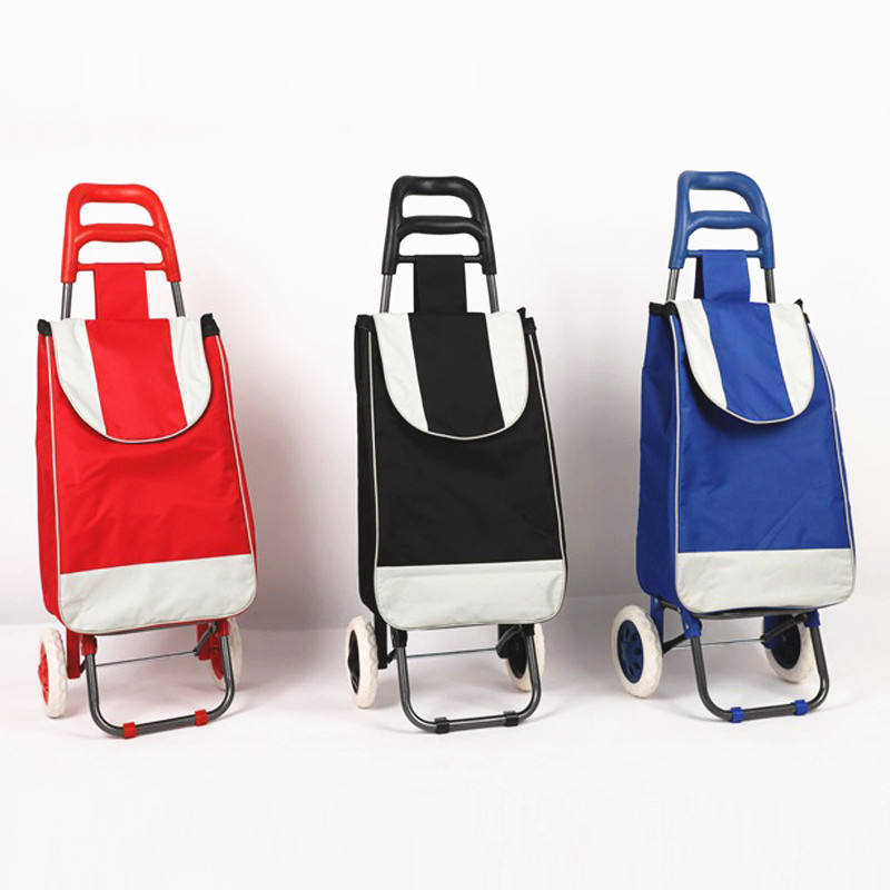 Wholesale Metal Supermarket Trolley Wheels Reusable Waterproof Nylon Foldable Shopping Trolley Cart Bag For Grocery