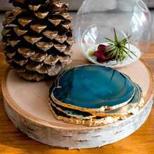 Wholesale small decorative engraved Gilded Crystal Coaster Agate geode Cups Slices