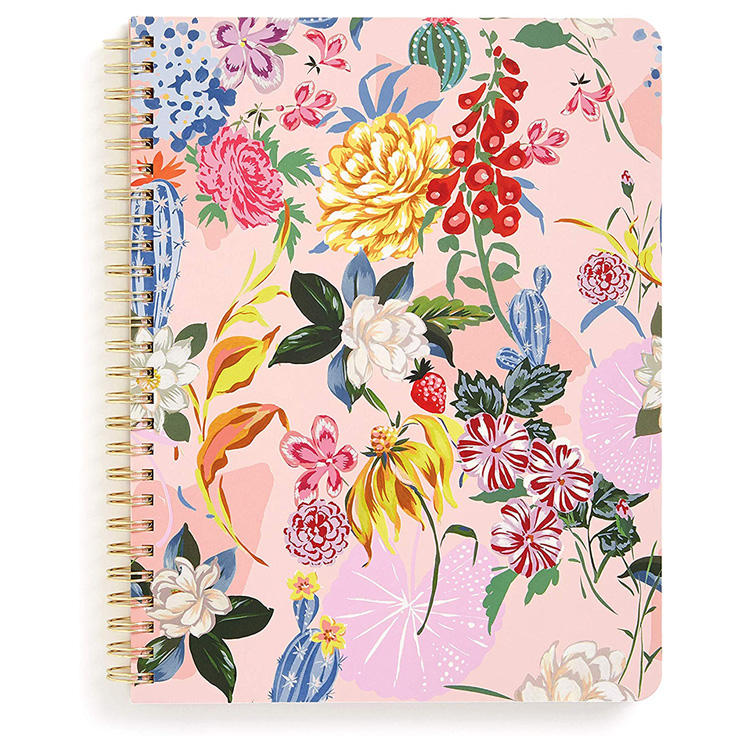 Wholesale floral design double spiral notebook with pockets