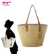 Three Colors Woman Beach Wicker Straw Beach Bag Factory, Wholesale Shoulder Straw Handbags With Leather Handle