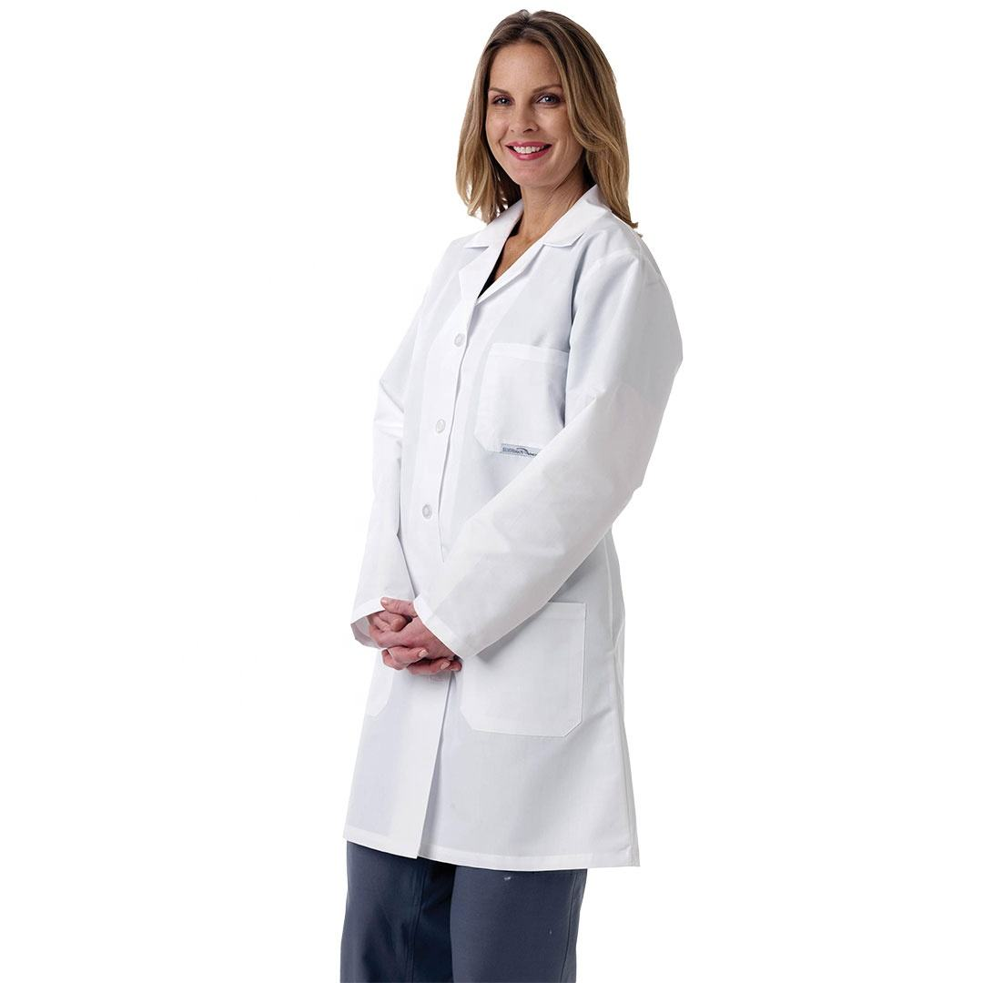 New Women's Stand Collar Long Sleeve Nurse Uniform Dental Clinic Doctor's Slim Fit White Color Lab Coat