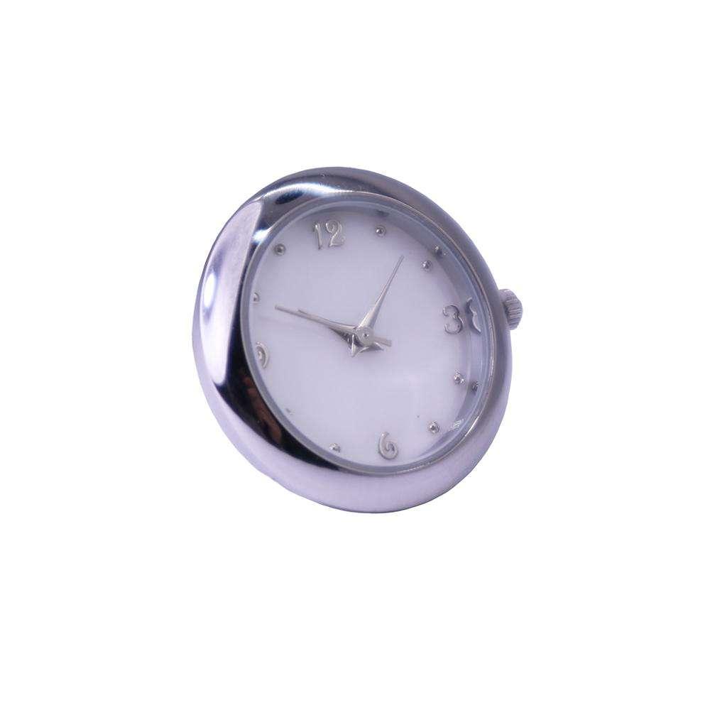 "Metal Gear Design Style Quartz Clock Insert 2/"" Diameter Chrome Metal Bezel"