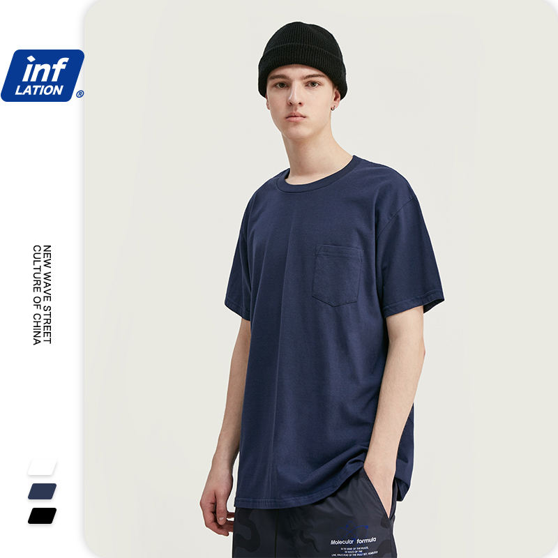INFLATION 2020 Summer Collection Men Tshirt 100% Cotton Solid tシャツMen Causal O-neck Basic tシャツMale Classical Tops1002S20