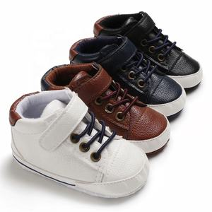 Guangzhou Brown Pu Lace Up Boy Casual Baby Prewalker Shoes For Toddlers