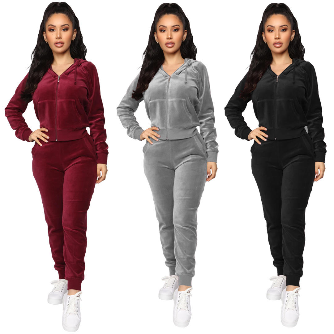 KEYIDI wholesale soft touch solid hoodie and pants set velour womens tracksuit