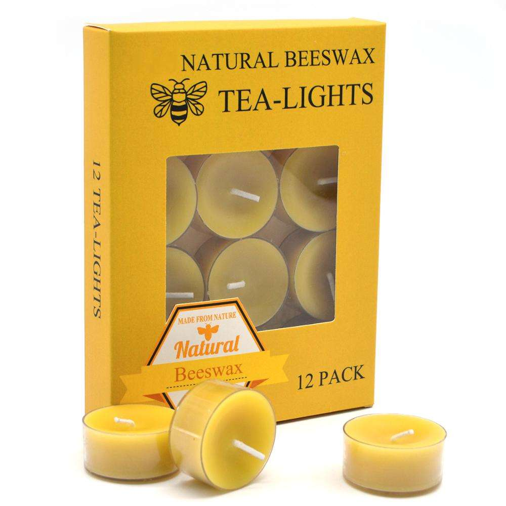 Gift Box 4 Hours Home Decor Beeswax TeaLight Candles Set Of 12