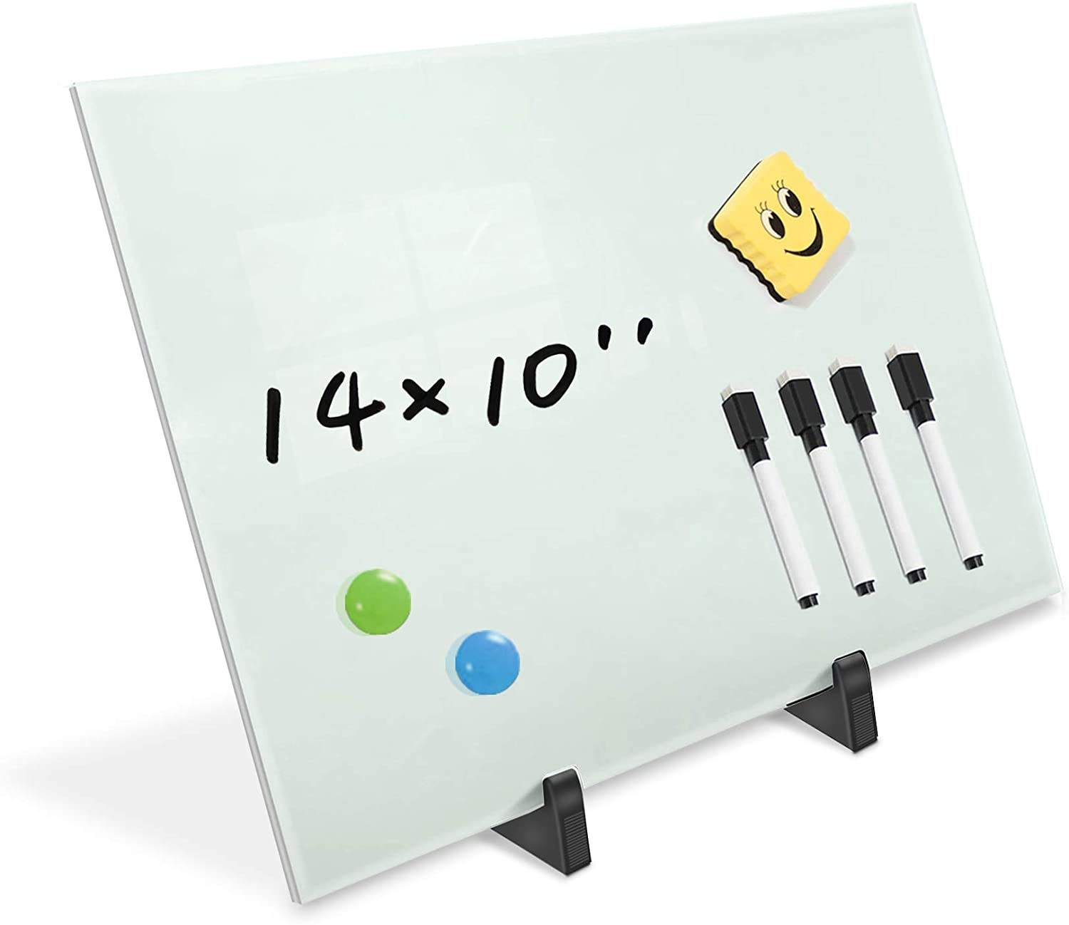 Small Glass Dry Erase Board Desktop Easel - 10 x 14 inches, Magnetic Glass Whiteboard on Stand for Table Desk, Great for Office
