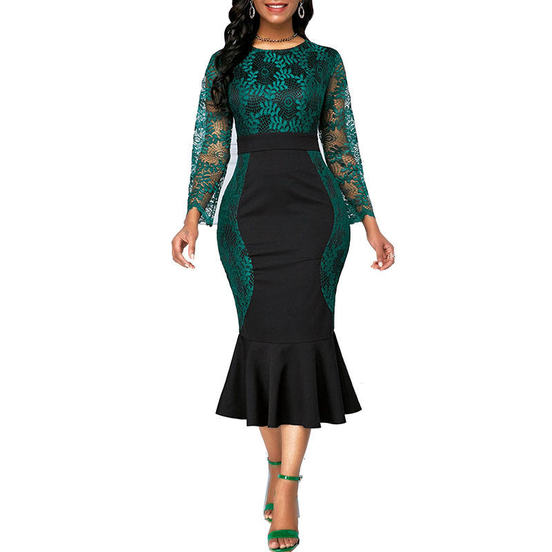 Ladies Round Neck Long Sleeves Hollow Out Lace Plus Size Dress Elegant Ruffles Mermaid Dresses