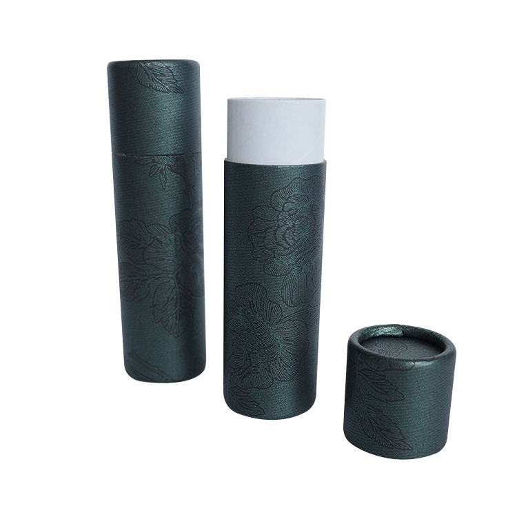 Biodegradable Custom Black Cardboard Paper Tube with Logo Hot Stamping