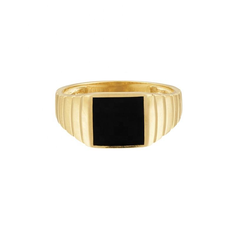 2020 nice gift 925 silver jewelry gold plated black enamel signet ring men