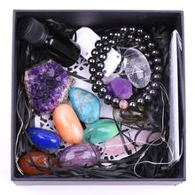 Custom Natural Crystal Kit Meditation gift Box set 7 Chakra Stone Crystals Healing Stones
