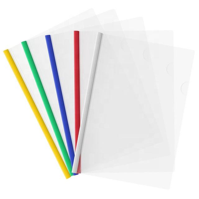 Office School Stationery Clear Plastic PP Sliding Bar Report File Cover Folders