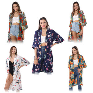 Wholesale custom fashionable beach long cardigan printed floral kimono