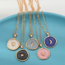 Fashion European Alloy Oil Drop Gold Moon Star Necklace Women Long Round Pendant Necklace