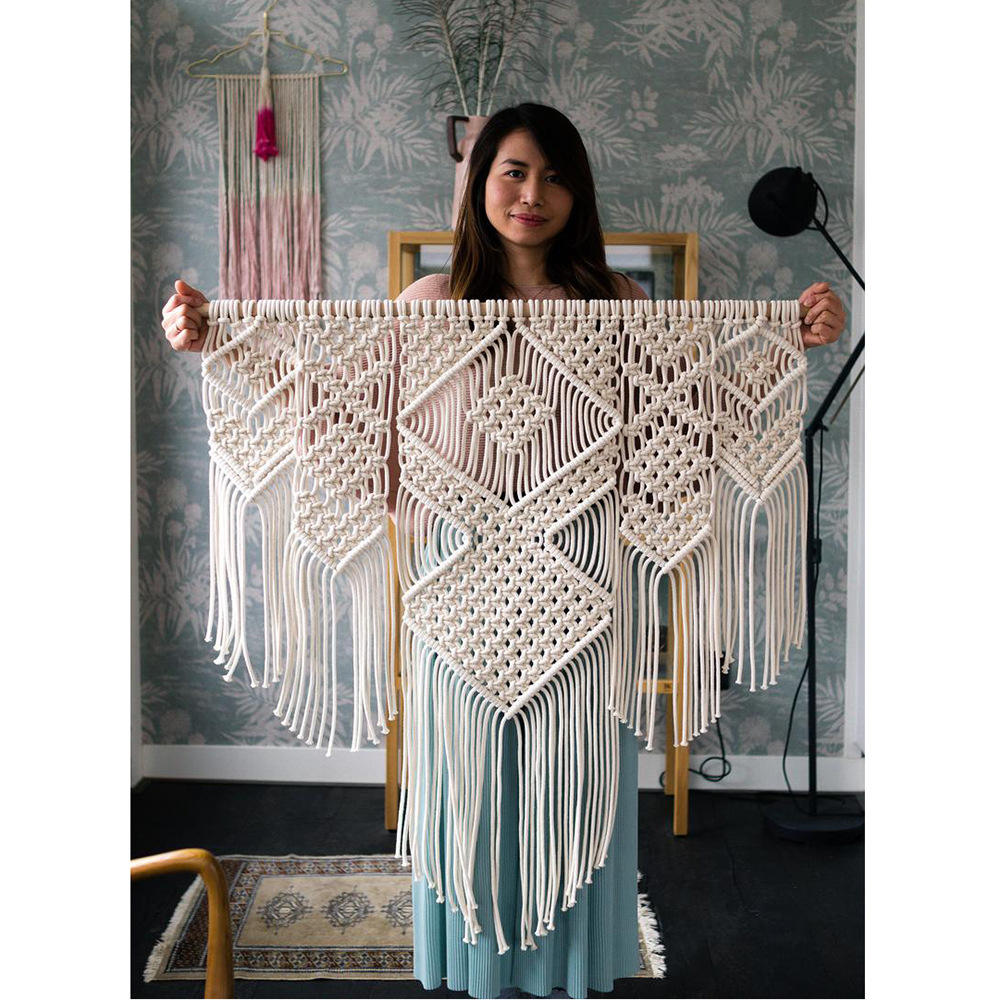 Elegant Macrame Bohemian Tapestry Wall Hanging Chic Geometric Art Handicrafts Woven Tapestry For Home Living Room Decoration