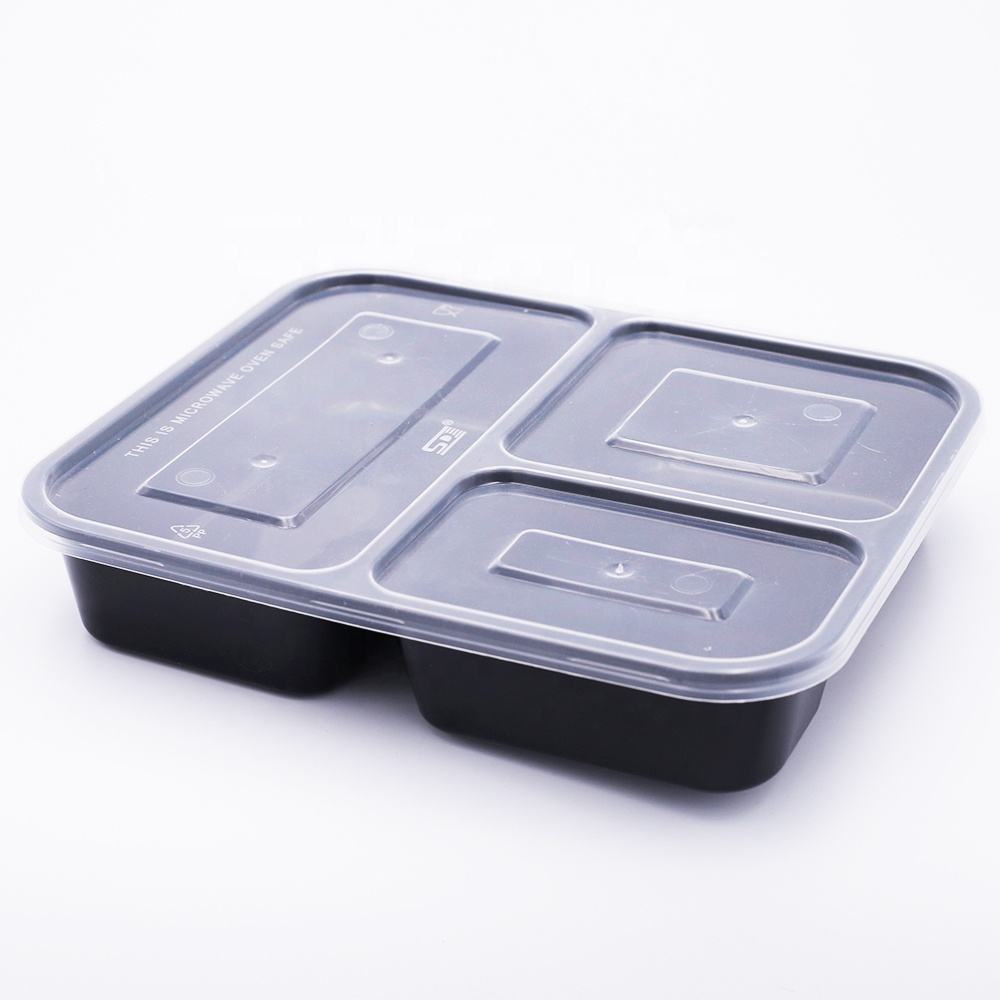 restaurant take away food packing salad rice disposable clear plastic bowl with lid with 3 compartment