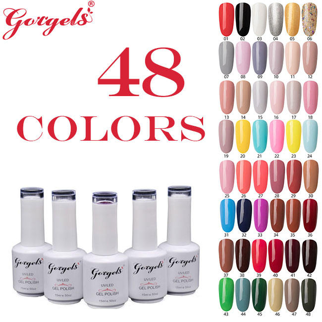 easy soak off UV/LED 48 colors solid color gel nail polish