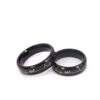 Fashion Ring Jewelry Titanium Wedding Bands Wholesale, 8MM6MM IP Black Plated Titanium Ring Set With Cardiogram Pattern Lasered