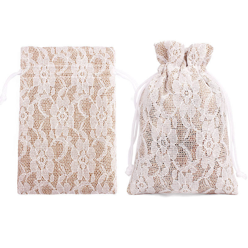 Vintage Linen Burlap Lace Drawstring Bag Candy Gift Bag Pouch For Wedding Festival Party Jewelry Packaging Supply