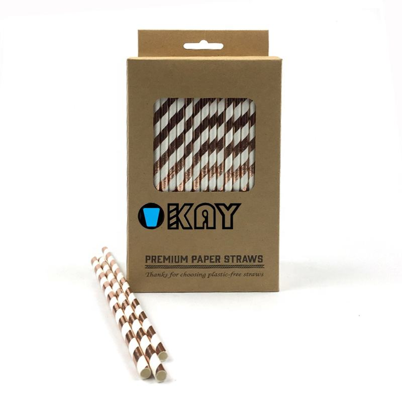 FSC Compostable Rose Gold Foil Striped Milkshake Paper Straws For Hot And Cold Drinks