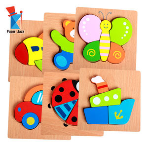 Educational Toys wood Animal puzzle jigsaw game diy wooden jigsaw puzzles for toddlers