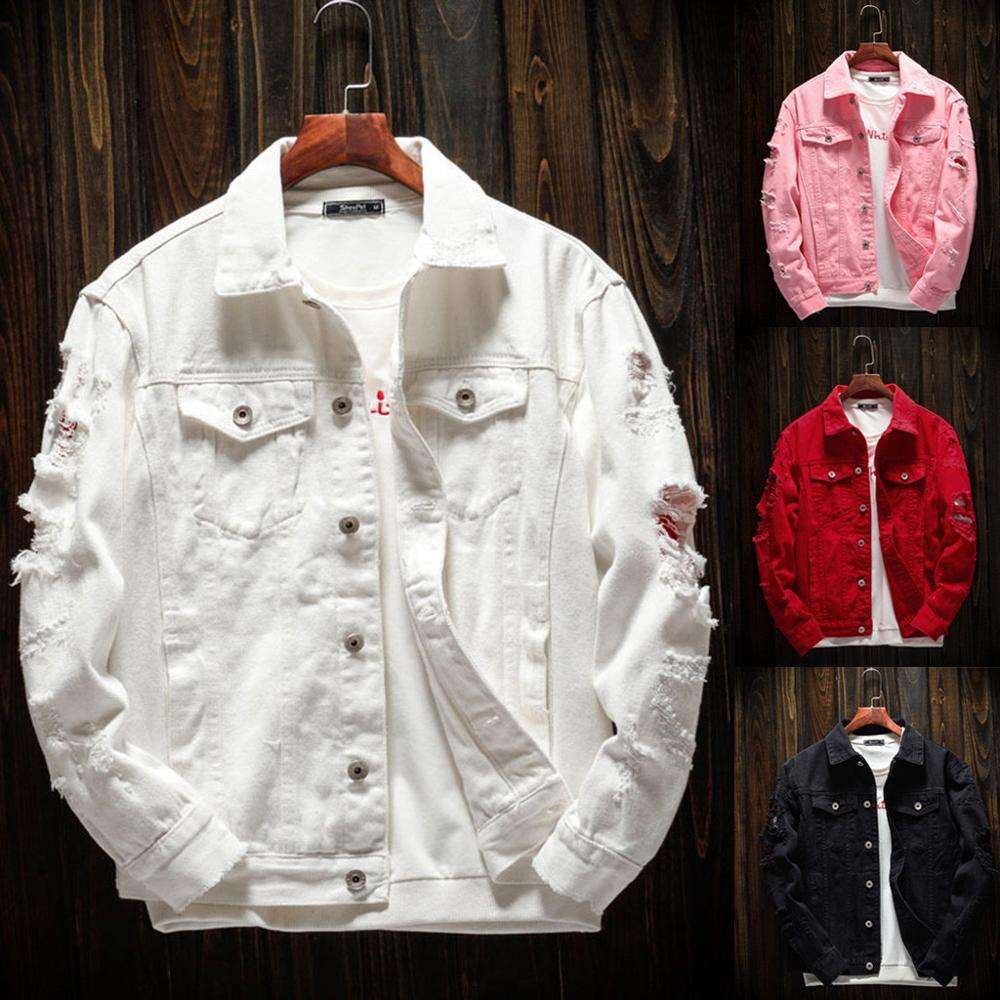 Mens Denim jean Jacket Trendy Fashion Ripped Denim Male Streetwear Jackets Cowboy Coats