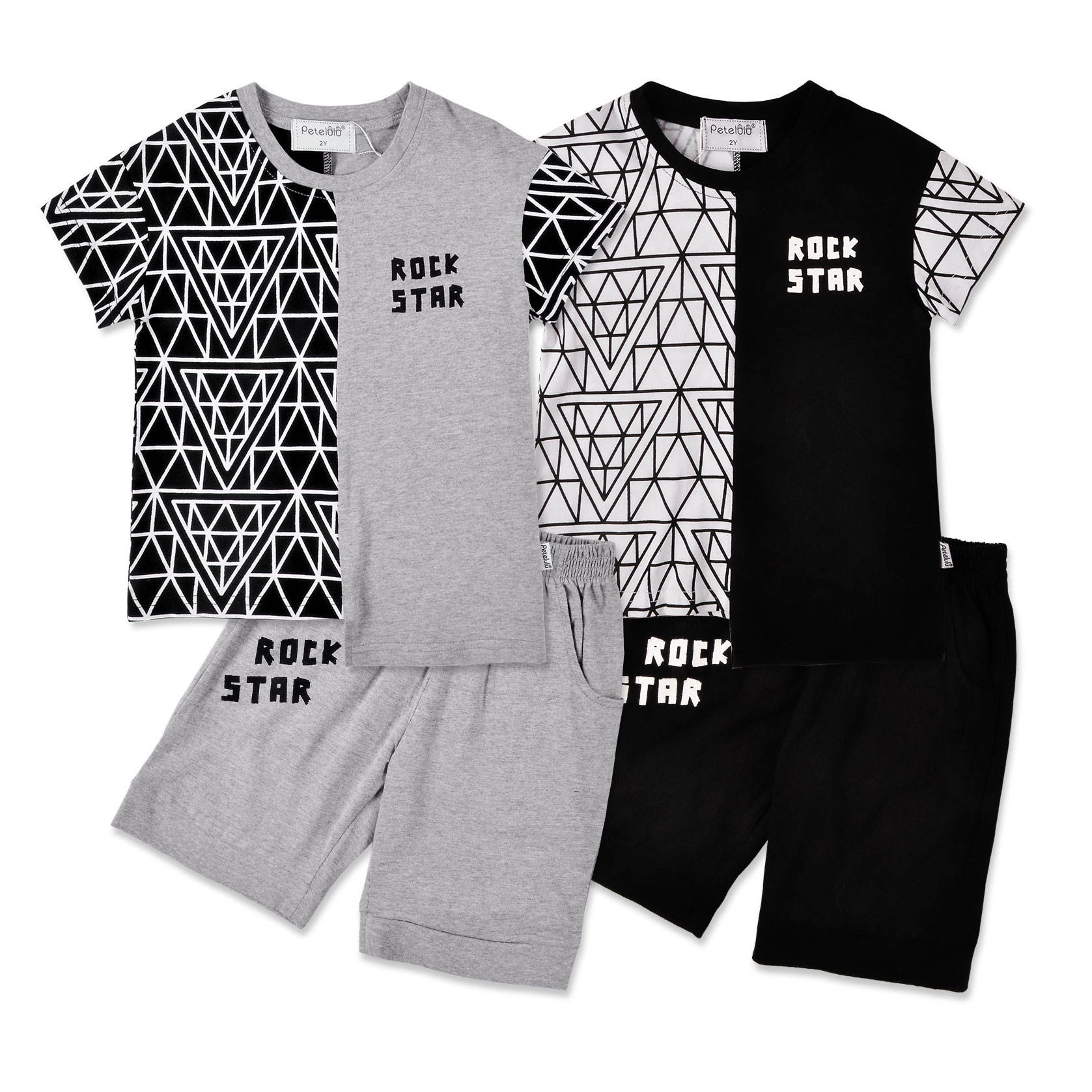 Boys Short Set Kids Clothes Line Drawing CASUAL Children Outfit 2 pieces 2-10T