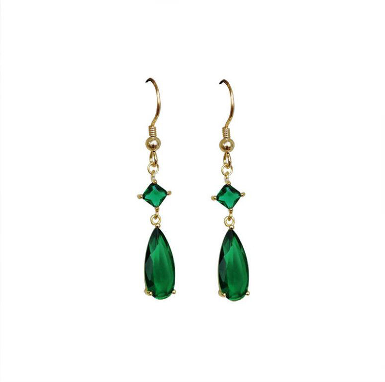 wholesale jewelry emerald stone green onyx gold plated 925 sterling silver drop earrings